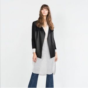 Zara Faux Leather/Suede Jacket with Sheer Sleeves